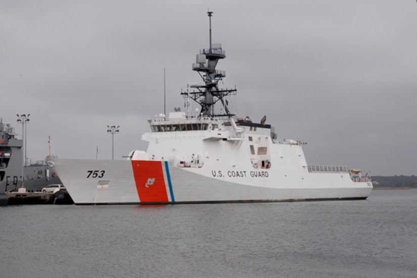 The United States Coast Guard Cutter Hamilton (WMSL 753) moored at its new home, Pier Papa at the Federal Law Enforcement Training Center Nov. 24, 2014, in N. Charleston, S.C.  Hamilton's primary missions include law enforcement, search and rescue, defense operations and homeland security. The ship carries a crew between 109 and 143 Coastguardsmen depending on the mission, is 418 feet long and displaces 4,500 tons. With a maximum sustained speed of 28 knots, the ship can cruise 12,000 nautical miles. Hamilton is the fourth National Security Cutter delivered to the United States Coast Guard.  (U.S. Air Force photo/Eric Sesit)