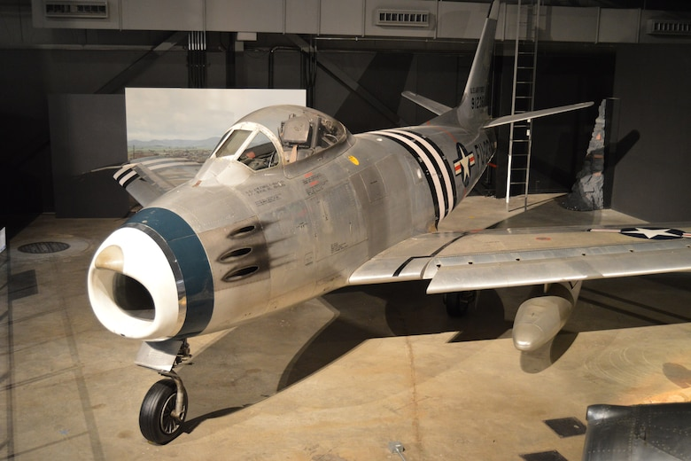 DAYTON, Ohio -- North American F-86A Sabre on display in the Korean War Gallery at the National Museum of the United States Air Force. (U.S. Air Force photo)