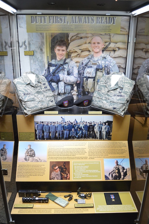 "DAYTON, Ohio -- The ""Duty First, Always Ready"" exhibit, located in the Cold War Gallery at the National Museum of the U.S. Air Force, highlights the service of Senior Airmen Michael Malarsie and Bradley Smith, a two-man Joint Terminal Attack Controller (JTAC) who deployed together to Afghanistan in December 2009. (U.S. Air Force photo)"