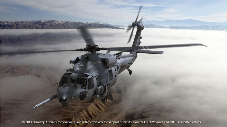 The Air Force plans on acquiring more than 100 of the HH-60W to perform future personnel recovery missions.  Initial deliveries are expected in FY19.  (photo illustration by Sikorsky Aircraft Corporation)