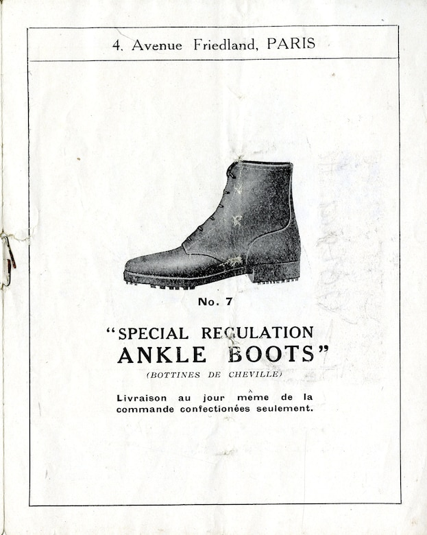 The quality and availability of military flight clothing was a significant concern for American aviators in World War I. The scarcity of supply and lack of standardized flying apparel forced many American pilots to supplement their personal kits with clothing and flying equipment purchased from commercial vendors. Many local companies even produced clothing to military specification, allowing personnel to acquire equipment outside the regular supply chain. This advertisement, an illustrated catalog of military boots and gaiters, was printed by the Sparkes Hall and Co., Ltd. of London. (U.S. Air Force photo)