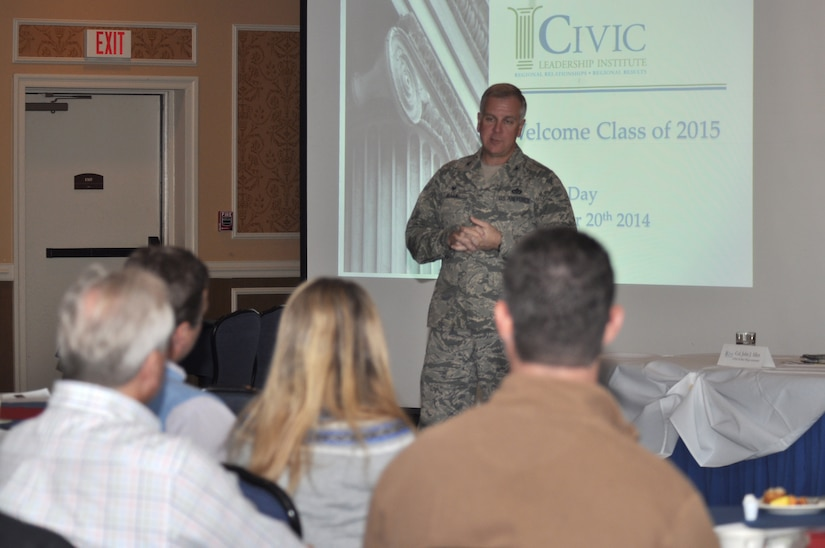 U.S. Air Force Col. John J. Allen Jr., 633rd Air Base Wing commander, talks to community leaders from the CIVIC Leadership Institute Nov. 20, 2014, at the Bayview Commonwealth Center at Langley Air Force Base, Va.  Allen, along with three other senior leaders participated in the CIVIC Leadership Institute Military Day in an effort to share the Joint Base Langley-Eustis'  mission and impact on the Hampton Roads community. (U.S. Air Force photo by Master Sgt. April Wickes/Released)