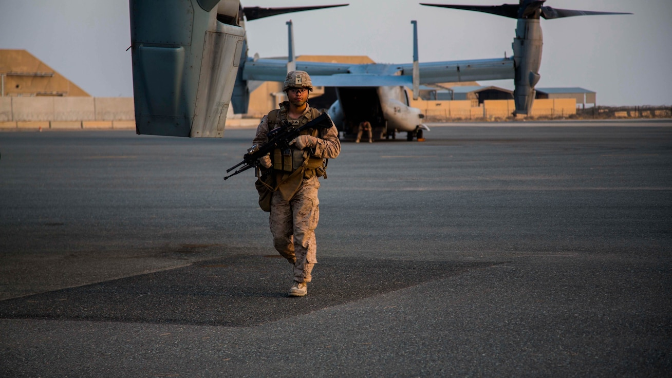 U.S. Marines with 2nd Battalion, 7th Marine Regiment, Special Purpose Marine Air Ground Task Force - Crisis Response - Central Command, conduct a security patrol during a Tactical Recovery of Aircraft and Personnel rehearsal drill in the U.S. Central Command area of operations, Oct. 25, 2014. The Marines and sailors of SPMAGTF-CR-CC serve as an expeditionary, crisis-response force tasked with supporting operations, contingencies and security cooperation in Marine Corps Forces Central Command and CENTCOM.
