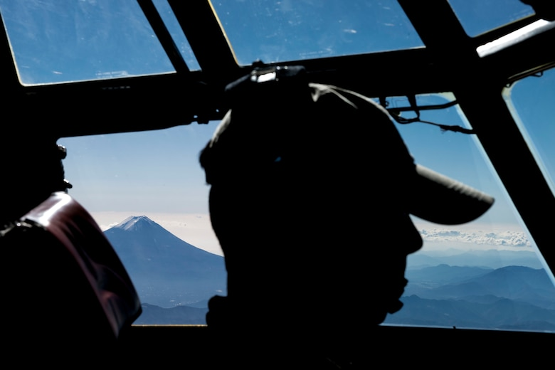 Mt. Fuji, a World Heritage Site, is seen Nov. 19, 2014, from a C-130 Hercules flying from Yokota Air Base, Japan, to South Korea to take part in Exercise Max Thunder. The 36th Airlift Squadron plays a vital mobility role in the biannual exercise aimed at improving the interoperability of the U.S.-South Korea partnership. (U.S. Air Force photo/Staff Sgt. Cody H. Ramirez)