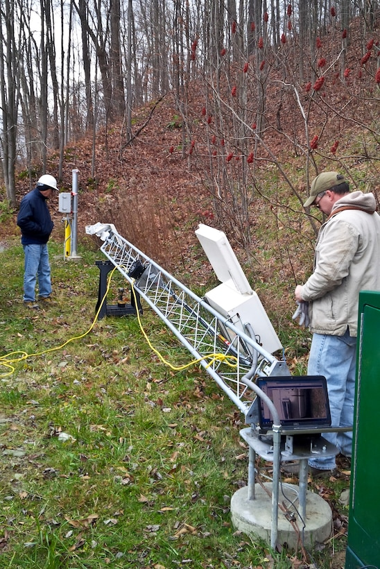 Tom Brown and Joe Premozic from the Geotechnical Engineering Section traveled to the U.S. Army Corps of Engineers' East Branch Dam to oversee upgrades to the automated data acquisition system, Nov. 12