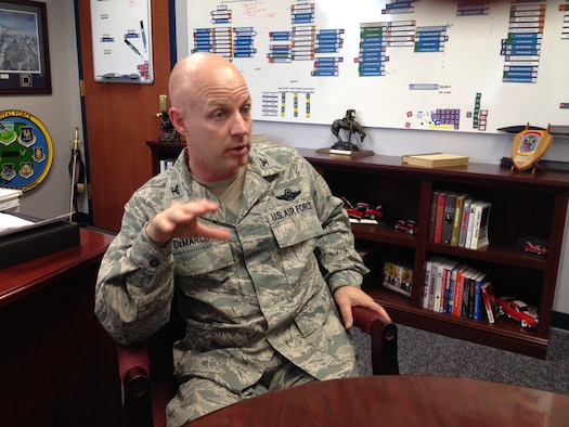 Col. Joseph DeMarco, vice commander Air Command and Staff College, discusses the way ahead for ACSC Leadership Curriculum, Maxwell Air Force Base, Alabama, Nov. 14, 2014.   (Air Force Photo by Michael Ritz/Cleared)