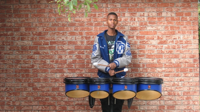 Pictured is Braylen Blassingame, with his snare drums.  Blassingame will be playing in the Macy's Great American Marching Band on Nov. 27, 2014, in New York City, NY. Blassingame is a senior at Del Rio High School and section leader of the Mighty Ram Band. (Courtesy Photo)