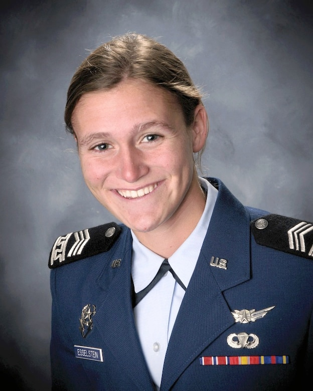 Cadet 1st Class Rebecca Esselstein was named a Rhodes Scholar Nov. 22, making her the Air Force Academy's 38th recipient and the 12th cadet-athlete to earn the honor. Esselstein is a native of Dayton, Ohio. (U.S. Air Force photo)