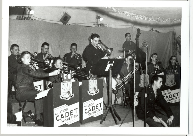 Captain Glenn Miller plays trombone in the Rhythmaires band at Maxwell Field, Dec. 24, 1942. The band played five times during Miller's five weeks at Maxwell, culminating with the Christmas Eve concert. (Courtesy Air Force photo by Air University History Office/cleared)