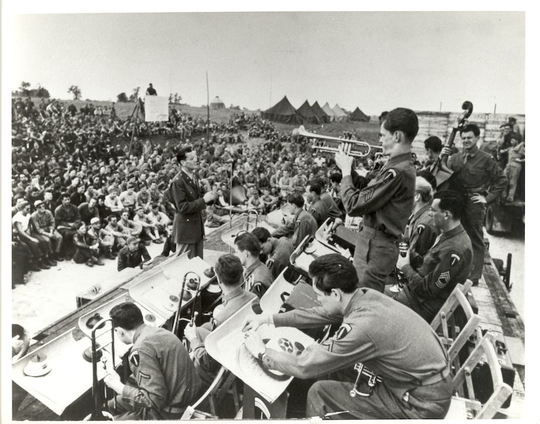 Glenn Miller's band plays for US and Allied troops in England, Jun-Dec 1944. The band gave 300 live performances in England and 500 radio broadcasts to Allied troops on the continent. (Courtesy Air Force photo by Air University History Office/cleared)