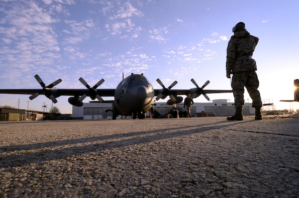 A U.S. Air Force C-130 Hercules sits on the flightline prior to take off at Dobbins Air Reserve Base, Ga., Dec. 9, 2012. The 94th Airlift Wing recently sent a C-130 to Red Flag-Alaska to pertake in training exercises. (U.S. Air Force photo by Brad Fallin/Released)