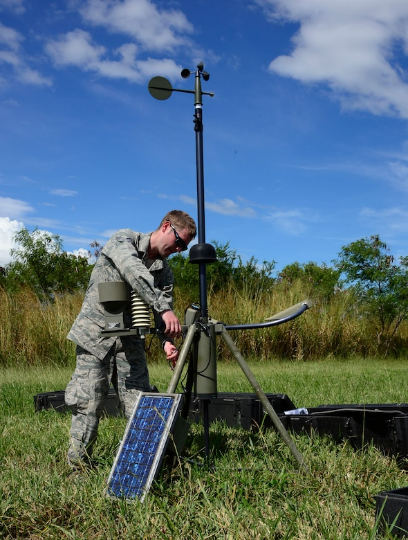 U.S. Air Force Senior Amn. Jonathan Marsh, 1-228th Aviation Regiment weather forecaster, sets up a Tactical Meteorological Observing System during air load and fly-away training on Soto Cano Air Base, Honduras, Nov. 25, 2014.  During the training members of the U. S. Southern Command Situational Assessment Team received training on setting up a Pre-Positioned Expeditionary Assistance Kit to help prepare the team respond efficiently to humanitarian assistance and disaster response situations throughout U.S. Southern Command's area of responsibility.   The training focused on S-SAT familiarization, hands on training and a combined culminating fly-away event between JTF-Bravo S-SAT personnel, Army Forces Battalion, and 1-228th Aviation Regiment in preparation for an upcoming exercise. (U.S. Air Force photo/Tech. Sgt. Heather Redman)