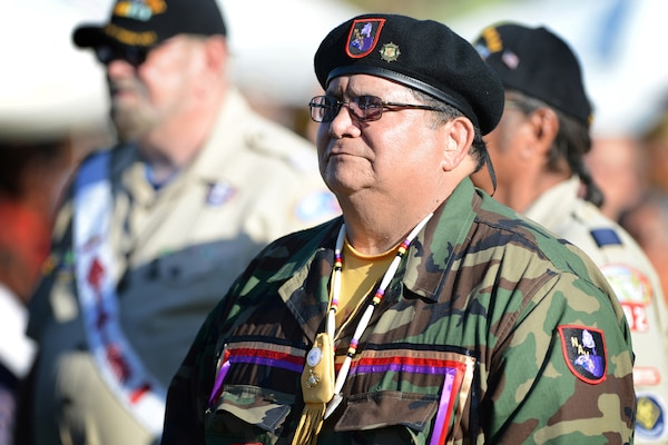 Antonio Quezada, a Marine Corps veteran from the White Mountain Apache tribe, participates in the Native American Veterans Association's annual Veterans Appreciation and Heritage Day Pow Wow in South Gate, Calif., Nov. 9, 2014. DoD photo by Marvin Lynchard
