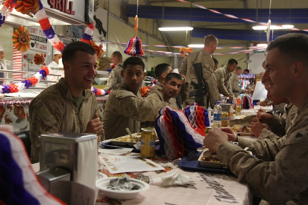 Marines with 3rd Battalion, 9th Marine Regiment, Regimental Combat Team 7, enjoyed a Thanksgiving Day meal, Nov. 22, 2012 at Forward Operating Base Geronimo, Afghanistan. The meal helped build camaraderie within the battalion.