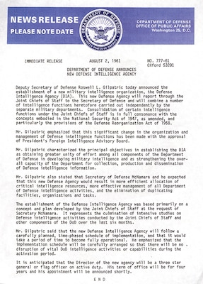 A press release announcing the establishment of DIA. The agency began operations Oct. 1, 1961.