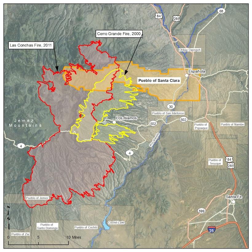 Map showing the burn scars of Cerro Grande Fire, Las Conchas Fire, and Santa Clara Pueblo.