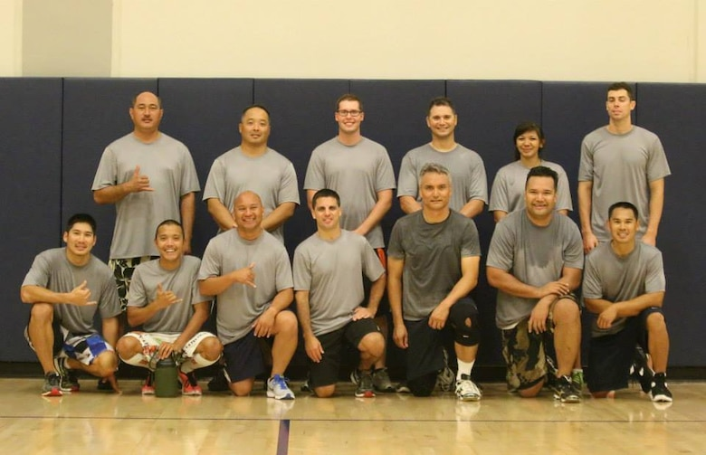 A team comprised of airmen from the 154th and 15th MXG tied for 3rd place in the 2014 Joint Base Pearl Harbor-Hickam Intramural Volleyball league. The team members came from both the Air National Guard and the active duty and proved that TFI, Total Force Integration works well in both work and play. (U.S. Air Force photo)