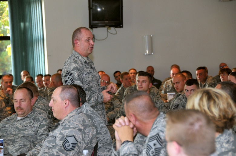 Command Chief Master Sgt. of the Air National Guard James Hotaling held an enlisted town hall meeting during a visit to Stratton Air National Guard Base, New York, on Sept. 30, 2014. He was at the base in preparation for an upcoming trip to Antarctica with the 109th Airlift Wing in support of Operation Deep Freeze. This will be his first trip to the ice. (U.S. Air National Guard photo by Master Sgt. William Gizara/Released)