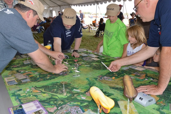 "DAYTON, Ohio -- Visitors got a better understanding of the war in Europe with Buckeye Gamers in Flight's giant WWI board game ""Wings of Glory"" during the Ninth WWI Dawn Patrol Rendezvous on Sept. 27-28, 2014. (U.S. Air Force photo)"
