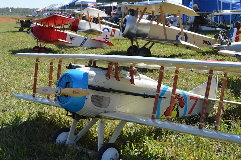 DAYTON, Ohio -- More than 100 WWI-era radio-controlled model aircraft, some as large as 1/2-scale, performed during the Ninth WWI Dawn Patrol Rendezvous on Sept. 27-28, 2014. (U.S. Air Force photo)