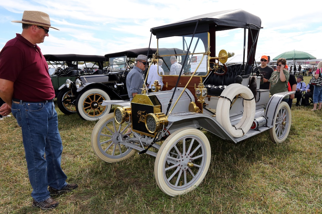 DAYTON, Ohio -- More than 20 antique automobiles were displayed and paraded around the grounds during the Ninth WWI Dawn Patrol Rendezvous on Sept. 27-28, 2014. (U.S. Air Force photo by Don Popp)