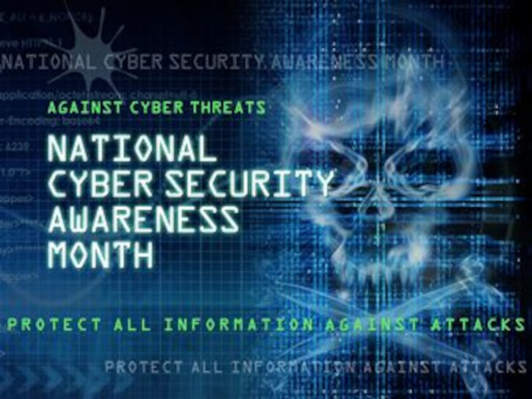 The goal of National Cyber Security Awareness Month, which takes place each year in October, is to spread awareness about hackers and their techniques in order to reduce the number of victims in future years. On average, there are one million victims of cyber-crime across the globe every day, and most of them could have prevented the attack if they were more educated on cyber security. (U.S. Air Force graphic by Naoko Shimoji/Released)