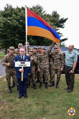 The Armenian Delegation preparing to enter the parade of athletes during the Opening Ceremony of the 29th CISM World Military Wrestling Championship at Joint Base McGuire-Dix-Lakehurst (MDL), New Jersey 1-8 October