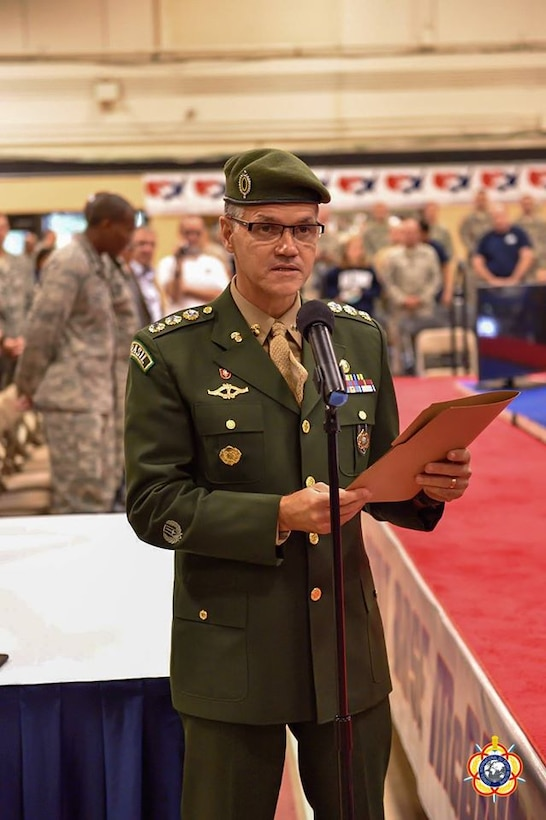 Colonel Jorge Ribeiro (Brazil), official CISM representative, officially opens the 29th CISM World Military Wrestling Championship at Joint Base McGuire-Dix-Lakehurst (MDL), New Jersey 1-8 October