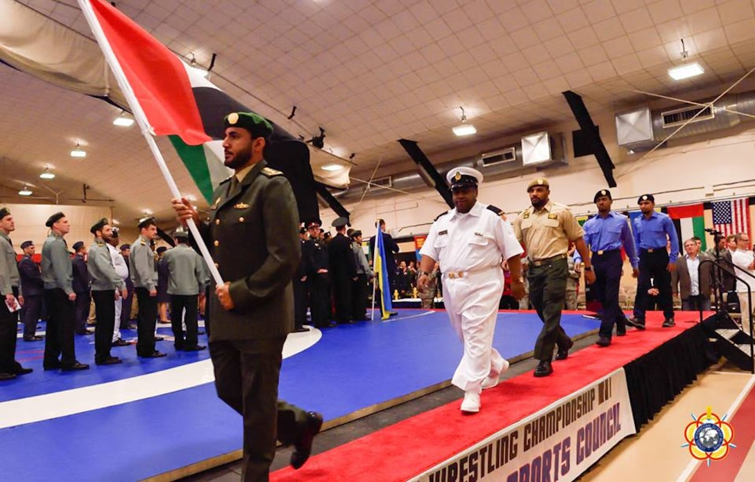 The Delegation from the United Arab Emirates during the Opening Ceremony of the 29th CISM World Military Wrestling Championship at Joint Base McGuire-Dix-Lakehurst (MDL), New Jersey 1-8 October