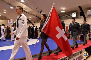 The Swiss Delegation during the Opening Ceremony of the 29th CISM World Military Wrestling Championship at Joint Base McGuire-Dix-Lakehurst (MDL), New Jersey 1-8 October