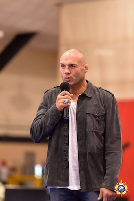 """Mr. Randy """"The Natural"""" Couture was the guest speaker during the Opening Ceremony of the 29th CISM World Military Wrestling Championship at Joint Base McGuire-Dix-Lakehurst (MDL), New Jersey 1-8 October. Couture is a three-time UFC Champion, former US Army Soldier and former CISM World Military Wrestling Champion in 1988."""