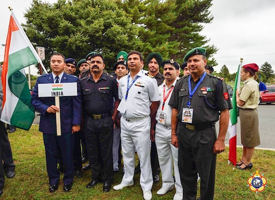 The Indian Delegation lining up during the Opening Ceremony of the 29th CISM World Military Wrestling Championship at Joint Base McGuire-Dix-Lakehurst (MDL), New Jersey 1-8 October