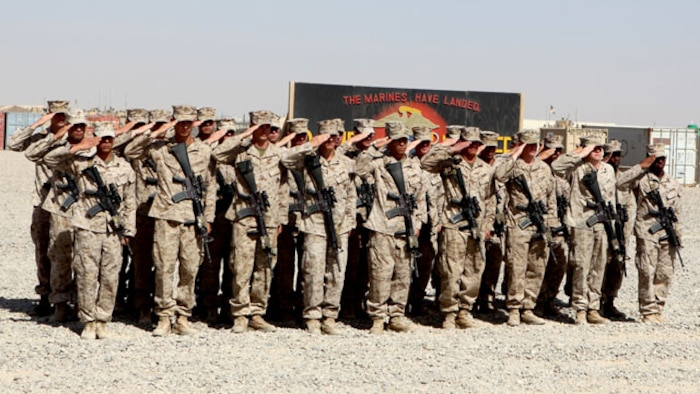Marines with Charley Company, 1st Battalion, 7th Marine Regiment, render honors to Brig. Gen. Daniel D. Yoo, commander, Regional Command and Marine Expeditionary Brigade–Afghanistan, during the battalion's transfer of authority ceremony aboard Tactical Base Dwyer, Afghanistan, Oct. 1, 2014. The ceremony signified the battalion's transfer of authority of the base and their area of responsibility to 3rd Squadron, 3rd Cavalry Regiment, a U.S. Army command based out of Fort Hood, Texas. The ceremony also meant the end of combat operations for 7th Marines – a regiment which has been actively supporting Operation Enduring Freedom for several years.