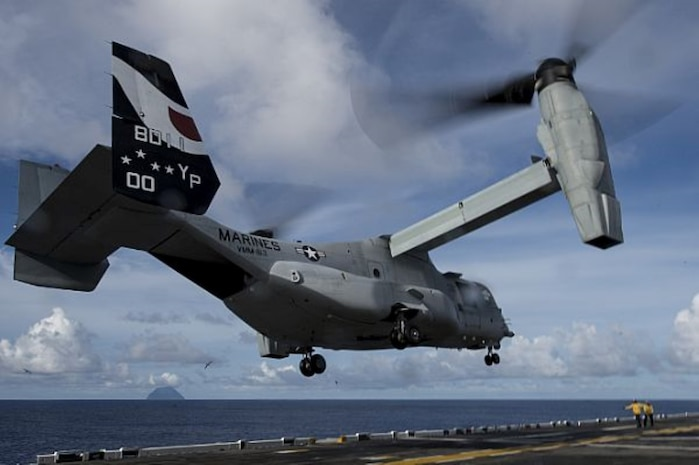 PACIFIC OCEAN (Aug. 16, 2014) An MV-22 Osprey attached to Marine Medium Tiltrotor Squadron (VMM) 163 (Reinforced) launches from the flight deck of amphibious assault ship USS Makin Island (LHD 8). Makin Island, the flagship of the Makin Island Amphibious Ready Group, is on a scheduled deployment with the 11th Marine Expeditionary Unit (11th MEU) to the U.S. 7th and 5th Fleet areas of responsibility. (U.S. Navy photo by Mass Communication Specialist 2nd Class Christopher Lindahl/Released)
