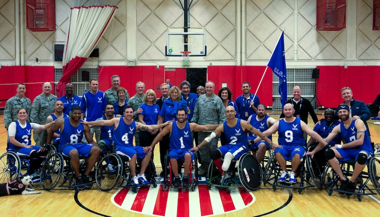 Secretary of the Air Force Deborah Lee James, Chief of Staff of the Air Force Gen. Mark A. Welsh III, and Chief Master Sgt. of the Air Force James A. Cody were in attendance to watch the Air Force take on U.S. Special Operations Command in a game of wheelchair basketball Sept. 30, 2014, during Warrior Games in Colorado Springs, Colo. Air Force won the game 29-12. (U.S. Air Force photo/Senior Airman Tiffany Denault)