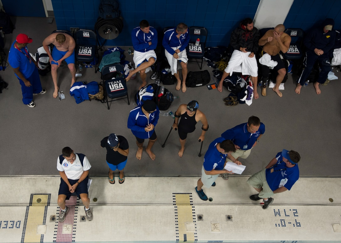Air Force athletes prepare for the swimming competition Sept. 30, 2014, during the 2014 Warrior Games at the U.S. Olympic Training Center in Colorado Springs, Colo. The Warrior Games consist of athletes from throughout the Defense Department, who compete in Paralympic-style events for their respective military branch. The goal of the games is to help highlight the limitless potential of warriors through competitive sports. (U.S. Air Force photo/Senior Airman Justyn M. Freeman)