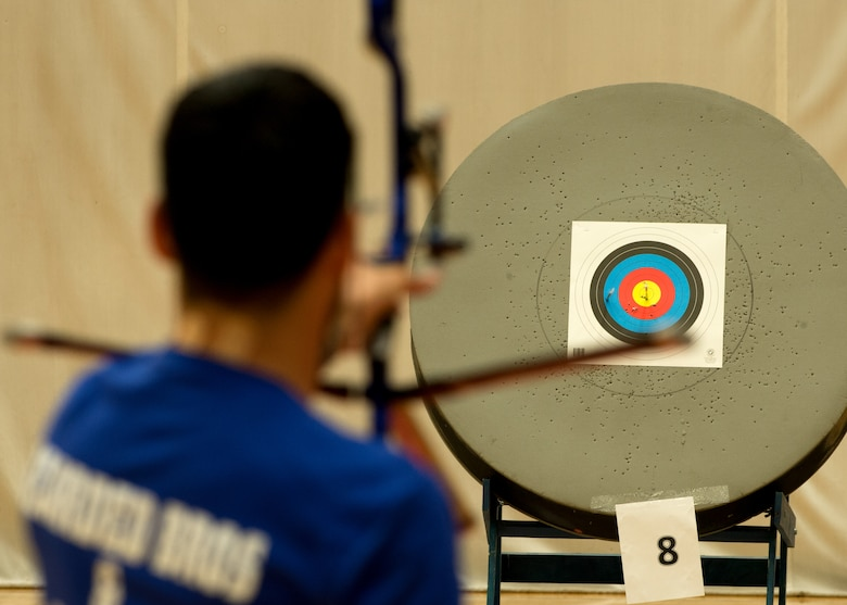Air Force athlete Daniel Crane lines up his target during the archery portion of the 2014 Warrior Games Oct. 1, 2014, at the U.S. Olympic Training Center in Colorado Springs, Colo. . The Warrior Games consist of athletes from the Defense Department, who compete in Paralympic-style events for their respective military branch. The goal of the games is to help highlight the limitless potential of warriors through competitive sports. (U.S. Air Force photo/Senior Airman Justyn M. Freeman)