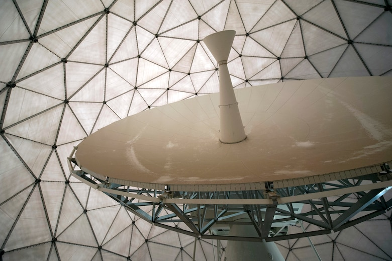 """The radomes, lightly referred to as """"golf balls,"""" on Buckley Air Force Base house and protect satellite dishes and other crucial space operations equipment. The purpose of the giant spheres is to protect the equipment from Colorado's ever-changing weather. Without this protective shell around the satellite dishes, the Airmen could not properly complete their jobs in all weather situations and circumstances. (U.S. Air Force photo by Airman Emily E. Amyotte/Released)"""