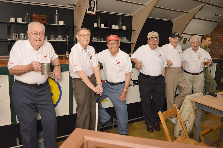 DAYTON, Ohio -- A group of 4th Fighter Group veterans at the museum's Nissen Hut  located on the grounds of the National Museum of the United States Air Force. These particular huts were used at Debden, England, where they were based during WWII. (U.S. Air Force photo)