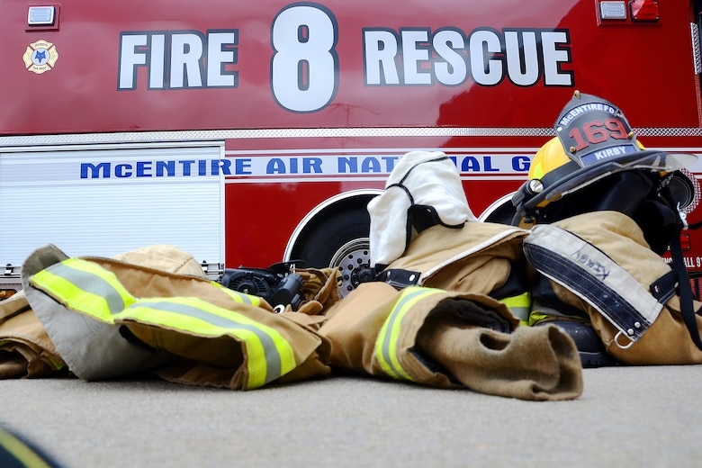 Firefighting equipment used by 169th Civil Engineer Squadron's Fire Department at McEntire Joint National Guard Base, S.C., September 16, 2014.  Speed and accuracy of McEntire's first response team is critical to maintain safety at home and on base.  (U.S. Air National Guard photo by Airman 1st Class Ashleigh S. Pavelek/Released)