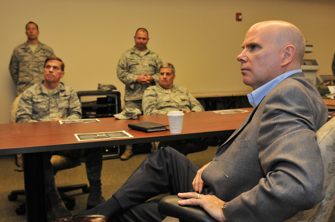 Mr. James J. Brooks, a member of the Senior Executive Service, Executive Director, Air National Guard, National Guard Bureau, the Pentagon, Washington D.C., visits Hancock Field in Syracuse, NY on Oct 4, 2014. Brooks while on his tour visited the 152 Air Operations Group and the 274th Air Support Operations Squadron based on Hancock Field. (U.S. Air National Guard photo by Tech. Sgt. Justin A. Huett/Released)