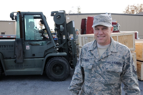 Chief Master Sgt. Roger Burke, 193rd Special Operations Logistics Readiness Squadron Supply Superintendent. (U.S. Air National Guard photo by Tech. Sgt. Culeen Shaffer/Released)