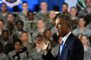 President Barack Obama speaks to service members about the U.S. counterterrorism campaign against terrorists from the Islamic State of Iraq and the Levant during his visit to MacDill Air Force Base, Sept. 17, 2014. U.S. Air Force photo by Staff Sgt. Liliana Moreno