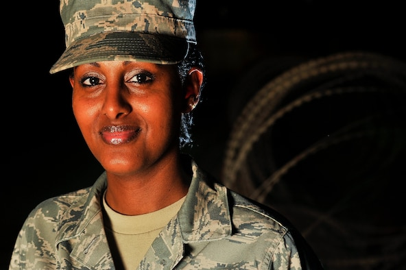 Staff Sgt. Ruta Shibeshi, deployed to the 380th Air Expeditionary Wing, credits her military service for helping to pave a clear path for her in life. It provided her with the resources that have allowed her to find a sense of security and a diverse community to which to belong. (U.S. Air Force photo/Tech. Sgt. Russ Scalf)