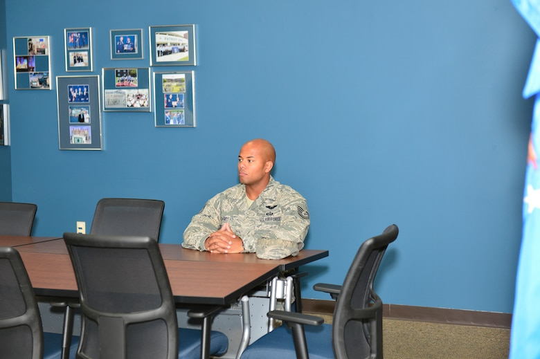 MCGHEE TYSON AIR NATIONAL GUARD BASE, Tenn.  - Tech. Sgt. Terry Hemmitt waits outside the Commandant's Office here Oct. 6, 2014, at the I.G. Brown Training and Education Center. Hemmitt was attending NCO Academy and interviewed for the Commandant's Award. (U.S. Air National Guard photo by Master Sgt. Jerry Harlan/Released)