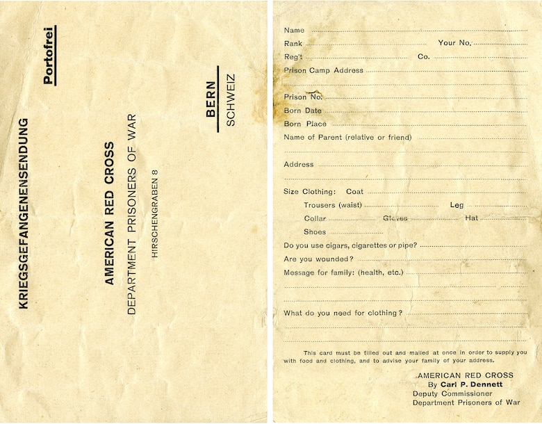This card was handed out to American POWs in Germany by the Red Cross. This simple questionnaire enabled the Red Cross to promptly inform families that their loved one had been captured and establish the material needs of the individual prisoner. (U.S. Air Force photo)