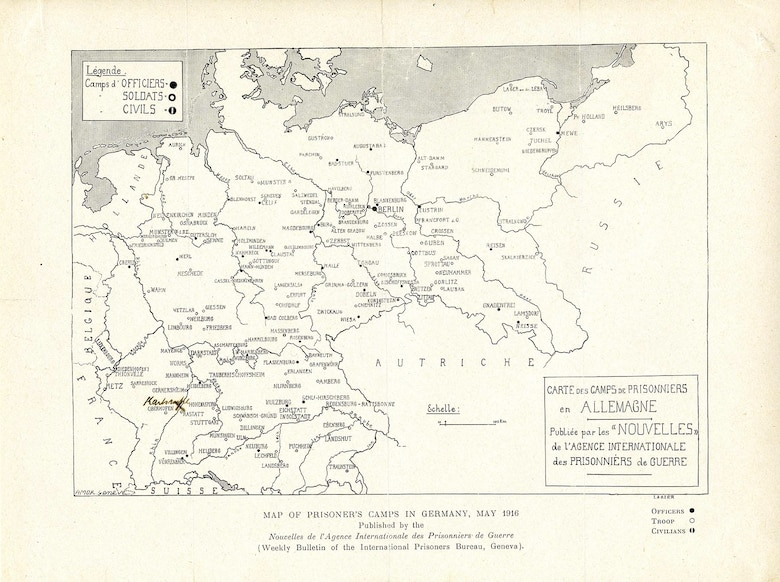 This map was provided to families by the Red Cross. It shows the location of all German POW camps, circa May 1916. The location of the Karlsruhe intelligence station was hand noted on the map for the family of Lt. James D. Adams. (U.S. Air Force photo)