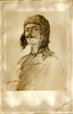 Lt. Col. William Thaw, pictured here in a pencil drawing by Henri Farré, was a World War I flying ace who flew with the Lafayette Escadrille. Flying a Nieuport, he scored his first victory in May 1916 and eventually achieved five confirmed and two unconfirmed aerial victories. Thaw was also responsible for the acquisition of the squadron's mascots, lion cubs Whiskey and Soda. (U.S. Air Force photo)
