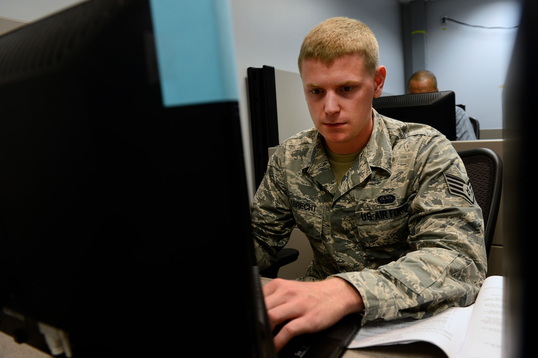Staff Sgt. Alek Albrecht, Air Force Network Operations and Security Center enterprise network technician, participates in a Network War Bridge Course at the 39th Information Operations Squadron, Hurlburt Field, Fla., Sept. 19, 2014. Albrecht is practicing to hack into a simulated network to better understand what techniques real hackers may use when attempting to infiltrate Air Force networks. Air Force Space Command provides trained and ready cyber forces to the warfighter through 24th Air Force. (U.S. Air Force photo by Airman 1st Class Krystal Ardrey)