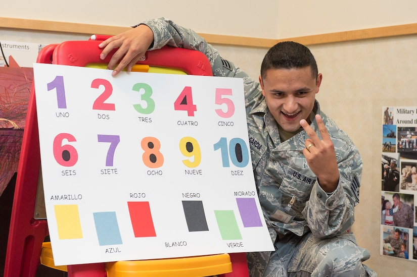 Staff Sgt. Diego Carmona, 628th Force Support Squadron manpower analyst, reads numbers in Spanish to children at the Joint Base Charleston Child Development Center, Oct. 7, 2014, at Joint Base Charleston, S.C. Multicultural Committee members read in Spanish in celebration of Hispanic Heritage Month, which runs through Oct. 15. The Multicultural Committee's mission is to enhance cross-cultural awareness and to promote diversity among all military members, civilian employees, family members and retirees. (U.S. Air Force photo/Senior Airman George Goslin)